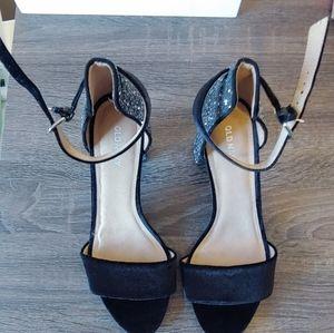 Black Velvet and silver sequin block heels
